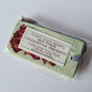 New VEGAN Aloe Vera & Cocoa Butter Unscented Handcrafted Hanging Soap 85g